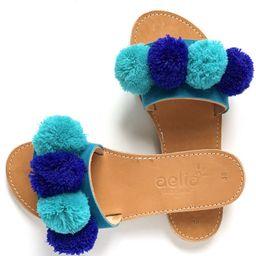 Blue Pom Pom Greek Leather Sandals .Boho Style Sandals  Women   Etsy   Etsy (US)
