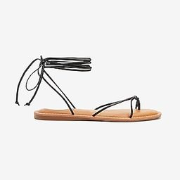 Lace-Up Strappy Thong Sandals Black Women's 7 | Express