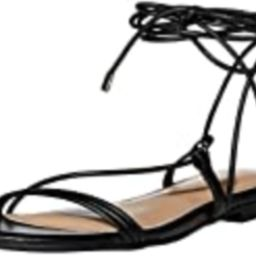 The Drop Women's Samantha Flat Strappy Lace-Up Sandal, Faux Leather Black, 8.5   Amazon (US)