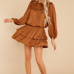 Make It Iconic Golden Brown Dress   Red Dress