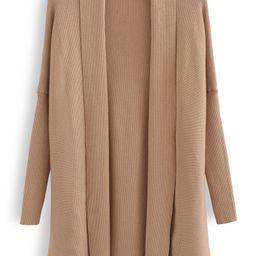 Basic Rib Knit Drape Neck Cardigan in Caramel | Chicwish