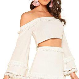 SheIn Women's 2 Piece Outfit Fringe Trim Crop Top Skirt Set | Amazon (US)