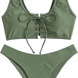 SweatyRocks Women's Sexy Bikini Set Lace Up Solid Color Two Piece Bathing Swimwear Suits | Amazon (US)