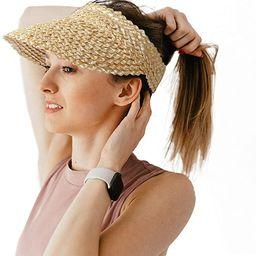 Natural Straw Sun Visor Hat for Women,Adjustable Messy Bun Ponytail Summer Beach Hat | Amazon (US)