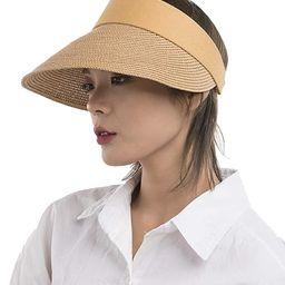Womens Straw Sun Visor Hat Large Brim UV Protective Sewn Braid | Amazon (US)