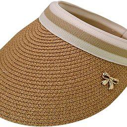 CLARA Women Summer Sun Visor Large Brim Straw Beach Sun Hat Outdoor Sports Cap | Amazon (US)