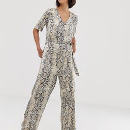 Selected snake print jumpsuit-Grey | ASOS (Global)