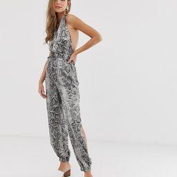 Parisian snake print jumpsuit-Grey | ASOS (Global)