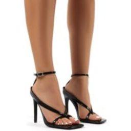 Emilia Black Croc Strappy Stiletto High Heels - US 6 | Public Desire (US & CA)