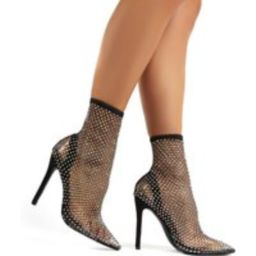 Diamond Black Diamante Fishnet Stiletto High Heels - US 6 | Public Desire (US & CA)