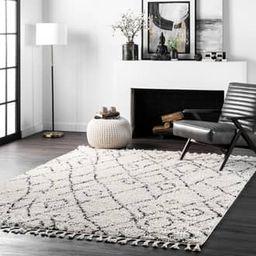 "Rugs USA Off White Temara Moroccan Diamond Tassel rug - Moroccan Rectangle 6' 7"""" x 9' | Rugs USA"