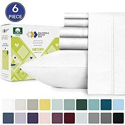 California Design Den 400-Thread-Count King Size Sateen Sheets - Pure White 6 Piece Soft Bedding ...   Amazon (US)