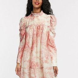 In The Style x Lorna Luxe puff sleeve smock dress in pink floral print   ASOS (Global)