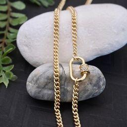 Cubic Zirconia Carabiner Necklace - Screw Clasp Necklace, Chain Link Necklace, Carabiner Pendant ... | Etsy (US)