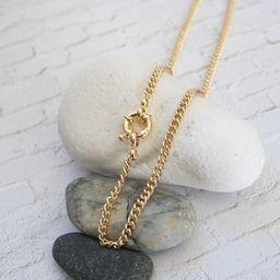 Captains Wheel Necklace, Curb Chain Link Necklace, Nautical Necklace, Nautical Jewelry, Sailor Je... | Etsy (US)