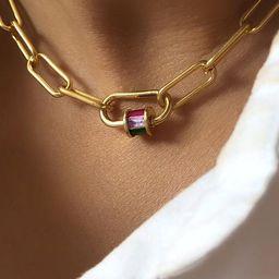 Carabiner lock necklace, gold carabiner necklace, cz carabiner necklace, small carabiner lock, lo... | Etsy (US)