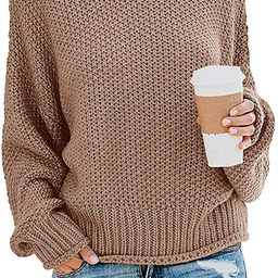 ZESICA Women's Turtleneck Sweaters Long Batwing Sleeve Oversized Chunky Knitted Pullover Tops | Amazon (US)