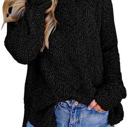 Imily Bela Womens Fuzzy Knitted Sweater Sherpa Fleece Side Slit Full Sleeve Jumper Outwears | Amazon (US)