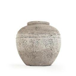 Stone-Like Terracotta Taupe Large Decorative Vase | The Home Depot