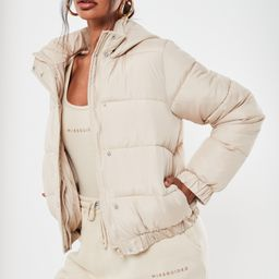 Stone Hooded Puffer Jacket | Missguided (US & CA)