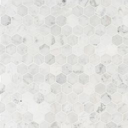 Carrara White Hexagon 11.75 in. x 12 in. x 8mm Honed Marble Mesh-Mounted Mosaic Tile (9.8 sq. ft.... | The Home Depot