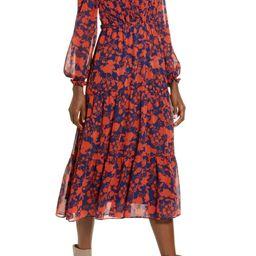 Floral Long Sleeve Chiffon Midi Dress   Nordstrom