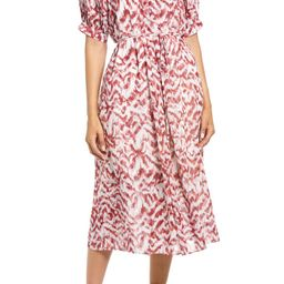Puff Sleeve Pleated Midi Dress   Nordstrom