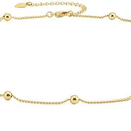 18k Gold Satellite Chain Choker Lava Bead Pendant Necklace Dainty Jewelry for Women 16'' | Amazon (US)