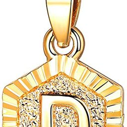 FOCALOOK Initial Letter Pendant Necklace Mens Womens Capital Letter Yellow 18K Gold Plated A-Z Go... | Amazon (US)