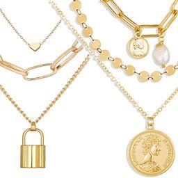 Neckce 2 Pcs Dainty Layered Choker Necklaces Handmade Lock Heart Pendant Multilayer Adjustable La...   Amazon (US)