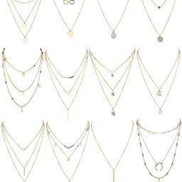Finrezio 12 PCS Gold & Silver Tone Layered Necklace for Women Girls Sexy Long Choker Chain Y Neck...   Amazon (US)