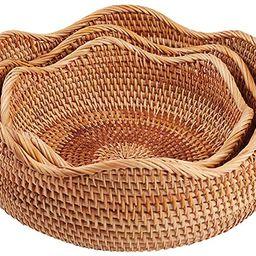 amololo Handmade Rattan Round Fruit Basket Food Storage Bowls Kitchen Organizer Snack Serving Bow...   Amazon (US)