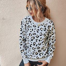 Cheetah Print Cut Out Back Sweater | SHEIN