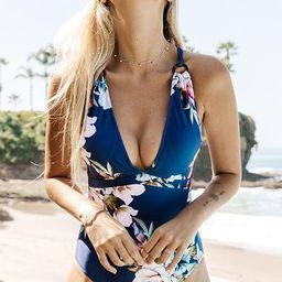 Blue Floral Strappy One-Piece Swimsuit   Cupshe