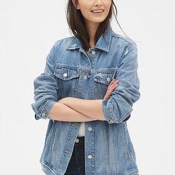 Distressed Oversized Icon Denim Jacket | Gap (US)