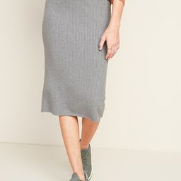 High-Waisted Rib-Knit Pencil Midi Skirt for Women | Old Navy (US)