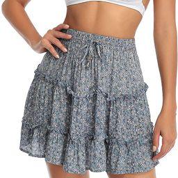 Arjungo Women's Floral High Waist Drawstring Ruffle Flared Boho A-Line Pleated Skater Mini Skirt | Amazon (US)