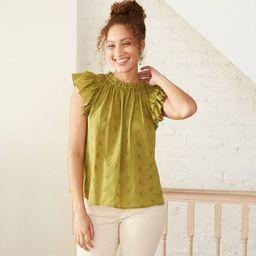 Women's Floral Print Flutter Short Sleeve Embroidered Blouse - Universal Thread™ | Target