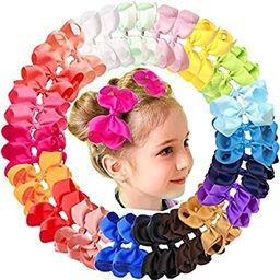 "JOYOYO 40Pcs 4.5"" Hair Bows Alligator Clips Grosgrain Ribbon Big Bows Clips For Girls Toddlers Ki... | Amazon (US)"