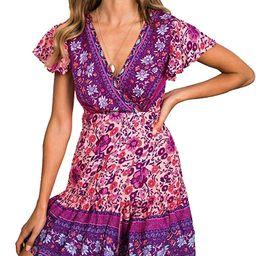 ZESICA Women's Summer Wrap V Neck Bohemian Floral Print Ruffle Swing A Line Beach Mini Dress Gr... | Amazon (US)