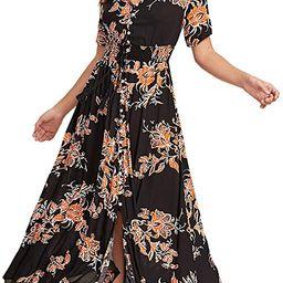 Women Floral Print Button Up Split Flowy Party Maxi Dress | Amazon (US)