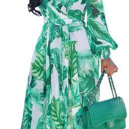 Womens Chiffon Deep V-Neck Stripe Printed Maxi Dress Unique Loose Summer Boho Dresses High Waiste... | Amazon (US)