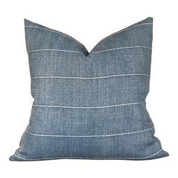 Designer Faso in Baleen Pillow Cover // Farmhouse Decor Pillow // Indigo Blue Linen Decorative Pi...   Etsy (CAD)