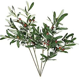 """ShoppeWatch Artificial Olive Branches and Stems with Fruit 30"""" for Decoration - Faux Plant Fake O... 