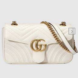 Preowned  Gucci GG Marmont Calfskin Matelasse Small White Leather Crossbody | eBay US