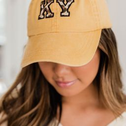 Leopard Print State Applique Yellow Baseball Cap | The Pink Lily Boutique