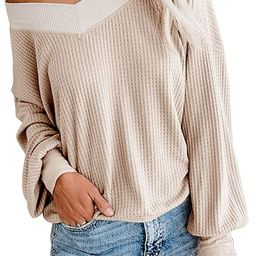 Women's V Neck Long Sleeve Shirts Waffle Knit Off Shoulder Tops Oversized Pullover Sweaters…   Amazon (US)