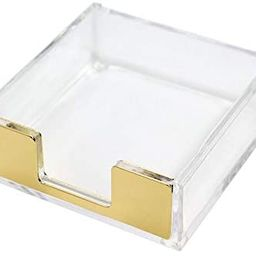 Clear Gold Sticky Note Pad Holder for Desk, Memo Holder Paper Dispenser, Multibey Acrylic Desktop... | Amazon (US)