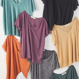 Project Social T Textured-Knit V-Neck Tee | Urban Outfitters (US and RoW)