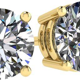 NANA 14k Gold Post & Sterling Silver 4 Prong Swarovski Pure Brilliance CZ Stud Earrings CZ 1.0 to...   Amazon (US)